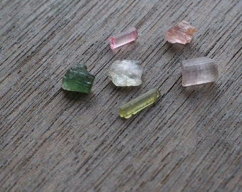 Pink and Green Tourmaline Crystals Set of 6 #43541