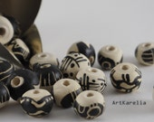 Pattern beads - hand-painted,Beads for necklace,12-16 mm,3 mm hole,Beading set,Ceramic beads,Black and white beads,Beads craft,Rare beads