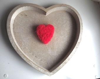 Heart Brooch Red Felt Jewelry Neddle Felted Brooch Pin Ecofriendly Brooch Love Gift