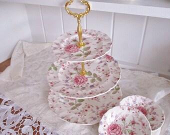 Vintage 3 tier Rose Chintz cake stand set by Johnson Bros, English Garden Tea Shop tea stand, excellent condition