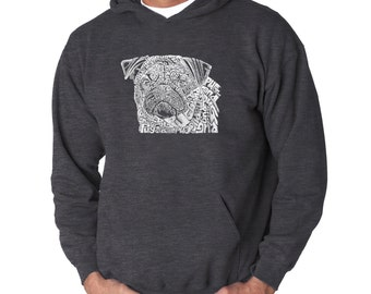 Men's Hooded Sweatshirt - Pug Face Created using the word Pug
