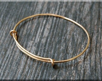 14k Gold Filled Hammered Expandable Bangle Bracelet, Adjustable Bangle, Bangle Bracelet, Charm Bracelet, Charm Jewelry, Yellow Gold Bracelet
