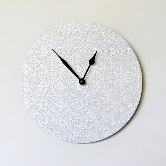 CIJ Sale, Minimalist Wall Clock, White Wall Clock, Recycled Art,  Home and Living, Decor and Housewares, Recycled Art,  Unique Gift