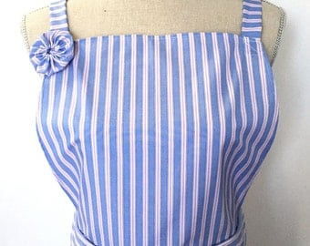 Woman's Apron - Blue, White and Pink Striped - Womens' Kitchen Apron - Made From Men's Dress Shirt - Recycled Upcycled - Cooking Apron