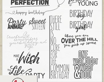 Digital and Printable Overlay Word Art Set - Instant Download - Happy Birthday Vol. 2 - Party Word Art