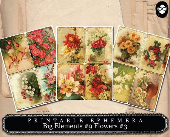 Printable Ephemera - Big Elements # 9 Flowers # 3 - 3 Page Instant Download - journal cards, vintage printable, collage sheets