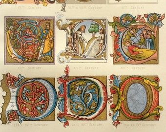 Antique ILLUMINATED MANUSCRIPT LETTERING Reference Victorian Font Illustration Bookplate