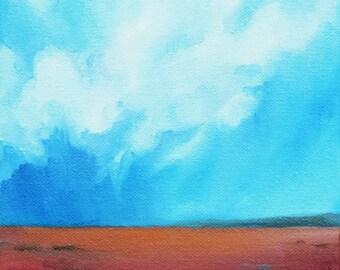 Oil painting, landscape, clouds, neutral home decor, wall art - Stormscape series seventy