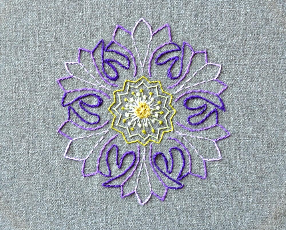 Flower embroidery pattern mandala modern hand