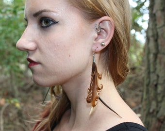 Chocolate Curls Feather Earrings