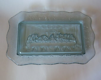 Vintage Tiara Glass Serving Dish / Platter, The Lords Last Supper, Indiana Glass Tiara Exclusive, 1970's Bread Plate