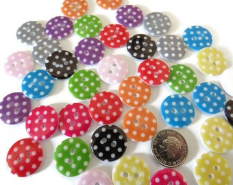 20  x Round Polka Dot Resin Buttons - 2-hole Round Buttons - 2-hole 18mm Buttons