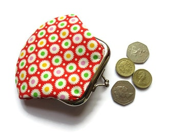 Small Red Coin Purse - Framed Change Purse - Red Fabric Change Wallet