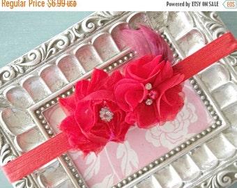 CHRISTMAS In JULY SALE Red Rhinestone Flower Baby Headband= Baby Feather Headband - Baby Photo Prop - Toddler Headband