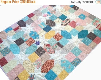 HURRY FLASH SALE Traditional Star Quilt - Lap Quilt - Moda Fabrics