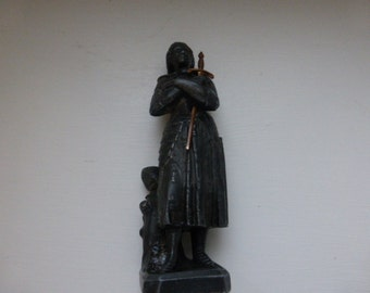 Vintage, Joan of Arc, Small Spelter Figurine, Perfect Condition.