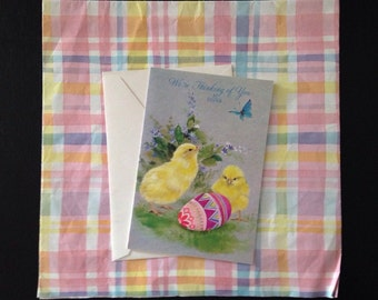 Vintage 1950s Happy Easter Card with Hallmark Gift Wrap Set