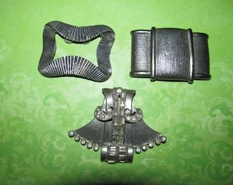 Vintage Destash Rhinestone Jewelry Craft Lot Shoe Buckle and Fur Clip
