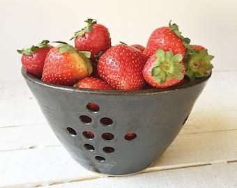 berry bowl, berry colander pottery, ceramic colander, Ready to Ship, Charcoal Black
