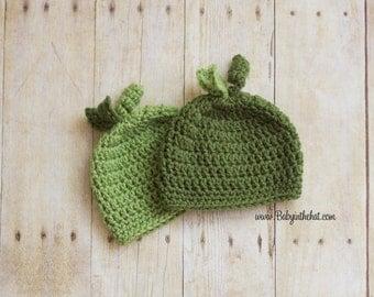 Newborn Twins Two Peas Hat Crochet Photo Prop Set