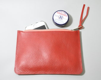 Leather Clutch, marlboro red, leather pouch, leather wallet, zip wallet, red wallet, red leather purse, red leather zip pouch, zip wallet