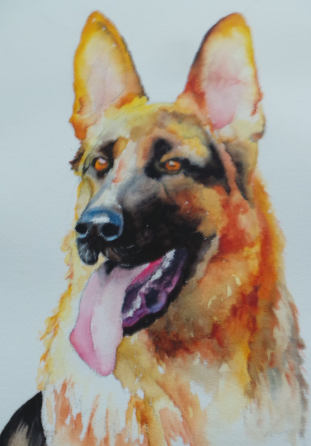 German Shepherd pet painting dog portrait dog art cat art