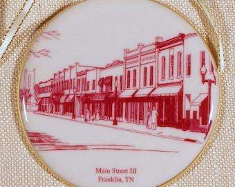 Franklin, TN, Christmas Ornament, Main Street III in Burgundy Porcelain