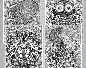 INSTANT DOWNLOAD Exotic Zentangle Animal Coloring Pages Set Of 4