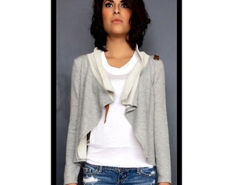 French Terry Cardigan Cover Up Drape Front Jacket Cardi Coat Sweatshirt