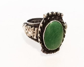 Green Turquoise Ring, Sterling Silver, Native American Vintage Jewelry, NEW YEAR SALE
