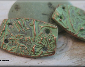 Handmade Solid Copper Earring Components - Minty Verdigris Patina!