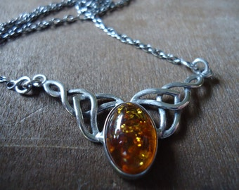 Amber & Sterling Silver Celtic Necklace