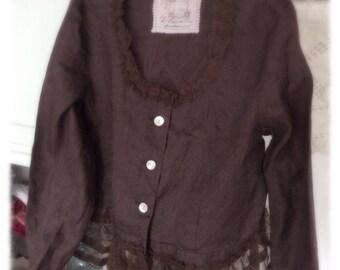 Sweet Dark Brown Linen Jacket Top Altered Embellished Womens Medium Shabby Chic Career Romantic Tulle Bohemian