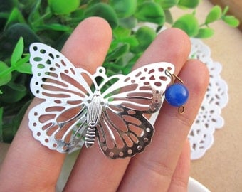 The porous butterflies hollow out butterfly Pure copper/White steel / wedding/50x35mm Environmental protection DIYaccessories/10PCS/ B20372