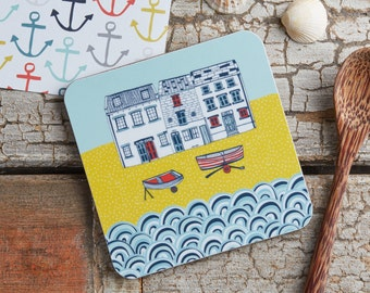 Life by the Sea melamine coaster - Illustrative kitchen products from Jessica Hogarth Designs - Made in the UK - melamine coaster