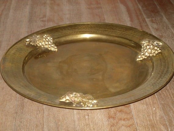 Large Round Brass Tray With Grape Cluster Trim Vintage Decor