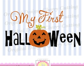 My First Halloween SVG,First Halloween with pumpkin face SVG, Silhouette Cut Files, Cricut Cut Files DIGICUT04 -Personal and Commercial Use