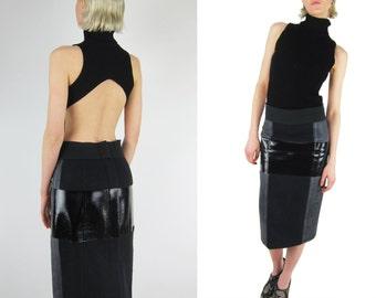 CALVIN KLEIN Collection Wool Skirt / Black Foil Detail