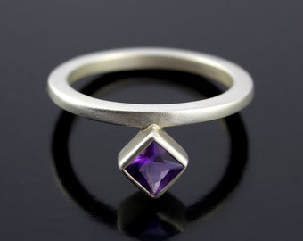 Amethyst Promise Ring in Sterling Silver. Offset Ring With Princess Cut Rich Purple Amethyst. February Birthstone Ring - CS1512