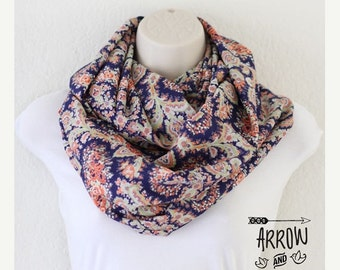 ON SALE Extra Wide Oversized Coral and Blue Paisley Floral Infinity Scarf, Loop Scarf, Circle Scarf