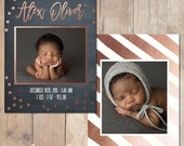 Chalk Board Rose Gold Birth Announcement Card Custom Photo Card 5x7 Professionally printed cards or Printable