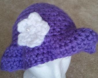 Purple Floppy Hat with White Flower