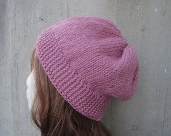 Mauve Pink Slouch Hat, Knit, Slouchy Beanie, GIFT FOR HER Mom Sister Wife Girlfriend