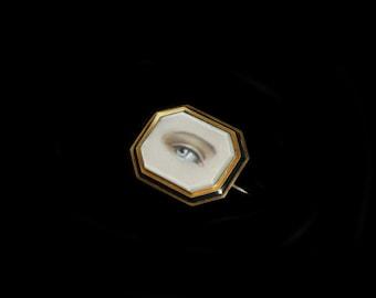 Sandra Hendler Original Hand Painted Lover's Eye Miniature in Victorian Gold & Enamel Mourning Locket Brooch