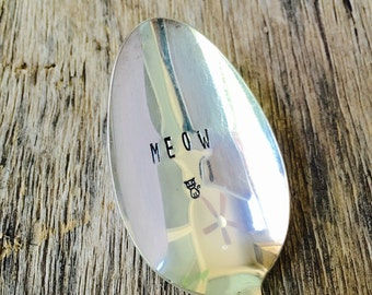 MEOW - upcycled spoon, silver plated, recycled, hand-stamped