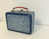 Lunch Box, Vintage Metal Lunch Box, Lunch Kit, Lunch Pail, Blue Lunch Box, Back to School