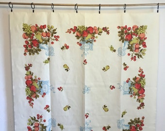 Vintage Tablecloth, vintage linens, fruit table cloth, printed tablecloth
