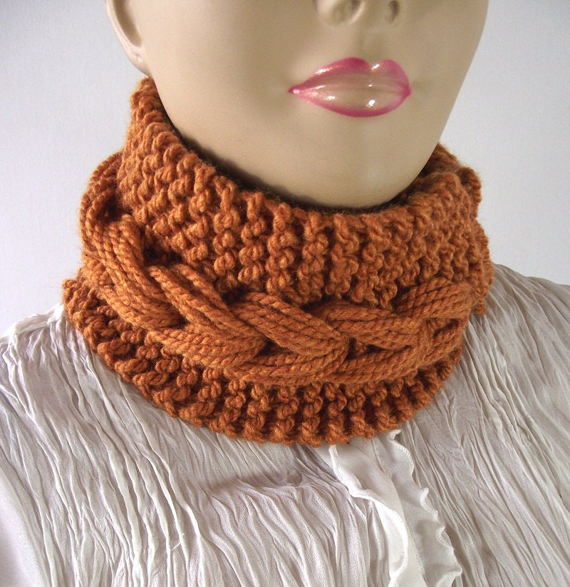 Bulky Knit Cowl Pattern : KNITTING PATTERN COWL Braid Bulky Cowl pdf pattern - Dinora Cowl - instant do...