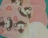 6 reusable flannel cotton nursing pads for bra A B C D DD nursing breastfeeding - valentine's monkey love