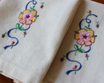 Vintage Linen Towels 2 Hand Embroidered Bright Garden Flowers Natural Unbleached Homespun